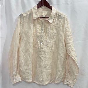 Cynthia Rowley   100% Linen Long Sleeve Top